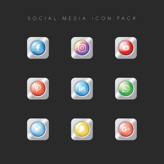 Modern populair social media icon pack Premium Vector