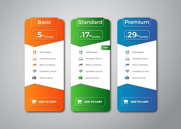 Modern pricing table template design Premium Vector