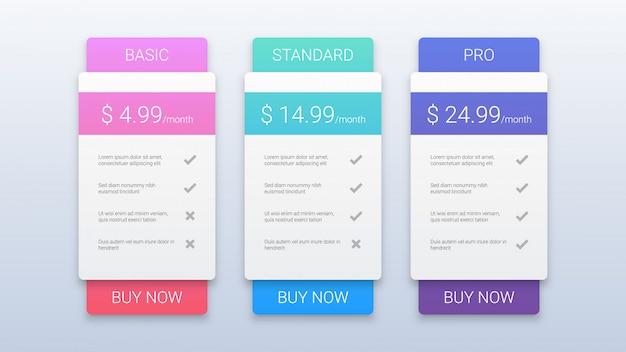 Modern prijsplannen sjabloon voor web Premium Vector