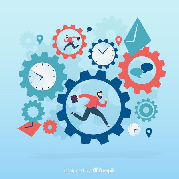 Modern productiviteitsconcept met vlak ontwerp Gratis Vector