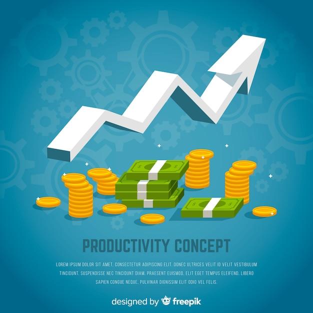 Modern productiviteitsconcept met vlak ontwerp Premium Vector