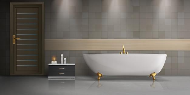 Modern realistisch mockup van het badkamers binnenlands ontwerp met witte, ceramische freestanding badkuip Gratis Vector