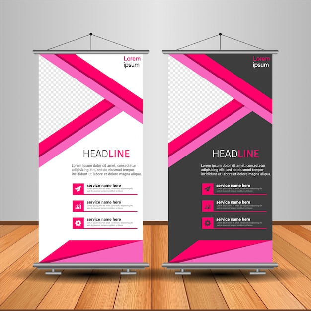Modern roll-up banner met abstracte vorm Premium Vector