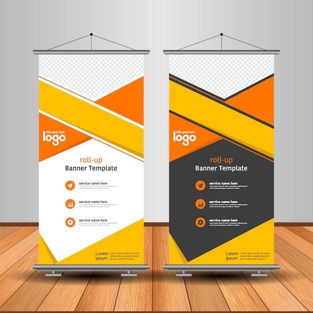 Modern roll-up banner met abstracte vorm Premium Vector