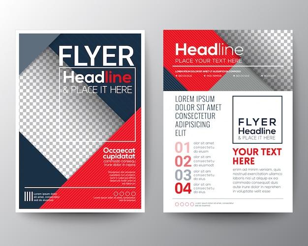 Modern rood en blauw business brochure flyer ontwerp lay-out sjabloon Premium Vector
