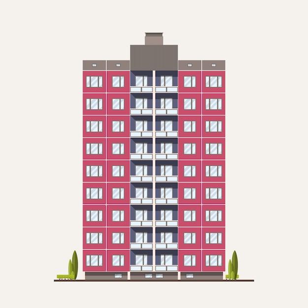 Modern roze geprefabriceerd paneelgebouw gebouwd in sovjet-architectonische stijl. buitenkant of gevel van woonhuis met balkons geïsoleerd Premium Vector