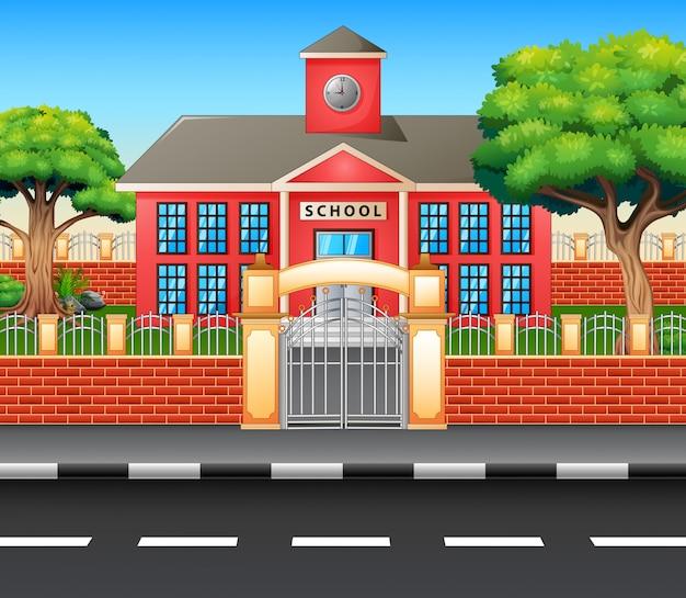 Modern schoolgebouw buiten met snelweg Premium Vector
