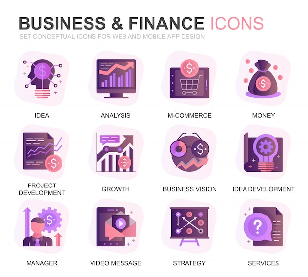 Modern set business en finance gradient plat pictogrammen Premium Vector