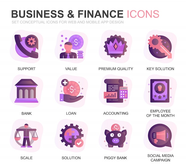 Modern set business en finance gradient plat pictogrammen Premium Vector