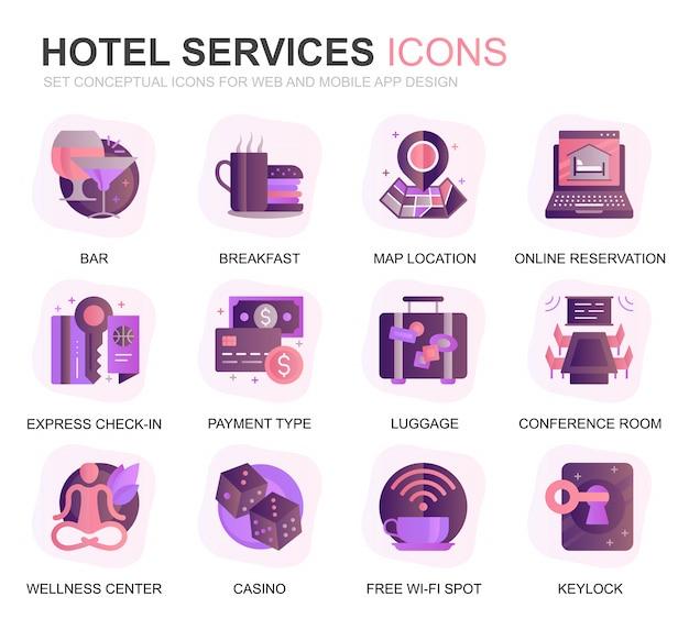 Modern set hotel service verloop platte pictogrammen Premium Vector