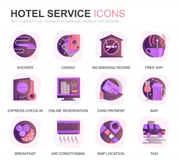 Modern set hotel services verloop platte pictogrammen Premium Vector