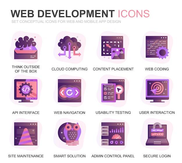 Modern set web disign en development gradient flat icons Premium Vector