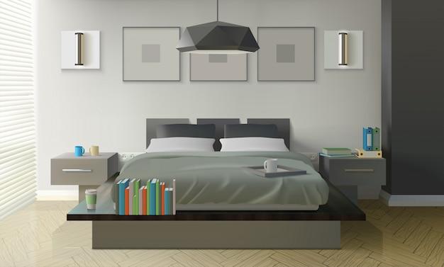 Modern slaapkamer interieur Gratis Vector