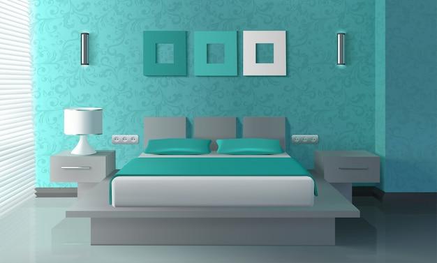 Modern slaapkamerinterieur Gratis Vector