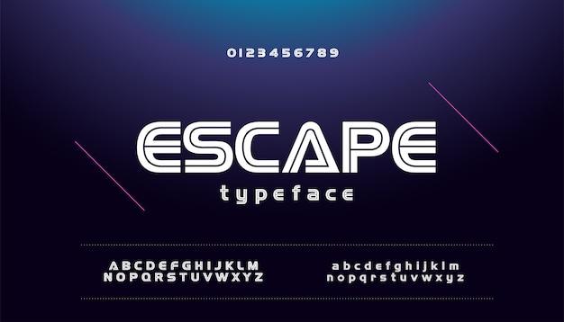 Modern sporttechnologie spel stedelijke lettertype alfabet Premium Vector