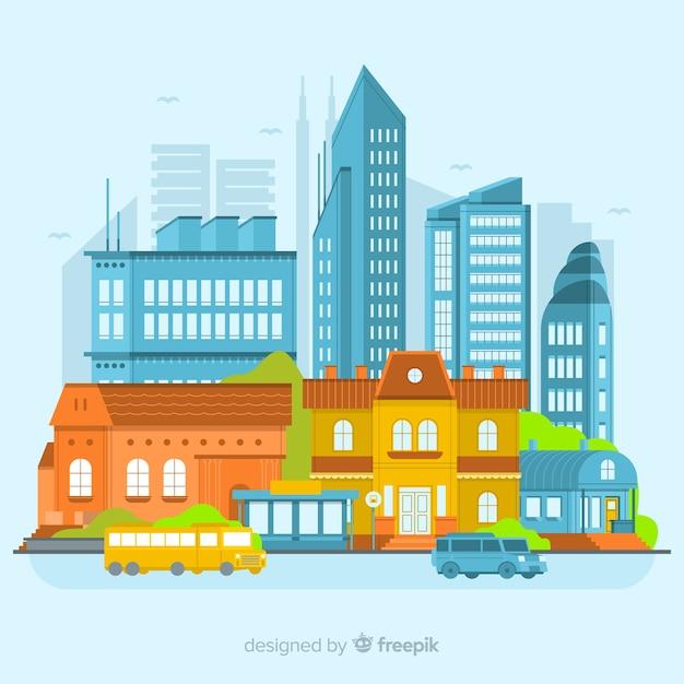 Modern stedelijk landschap met een plat ontwerp Gratis Vector