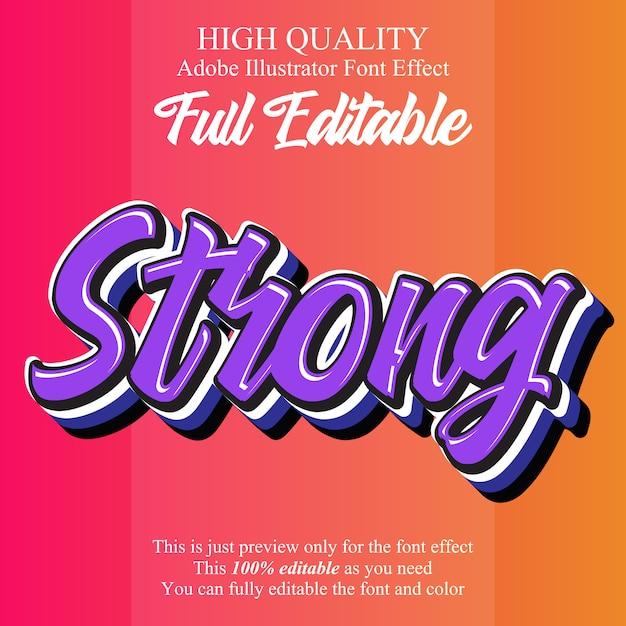 Modern sterk script bewerkbaar typografie lettertype effect Premium Vector