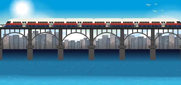 Modern trein stedelijk vervoer Premium Vector