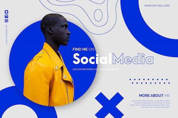 Modern vind me op sociale media-achtergrond Gratis Vector