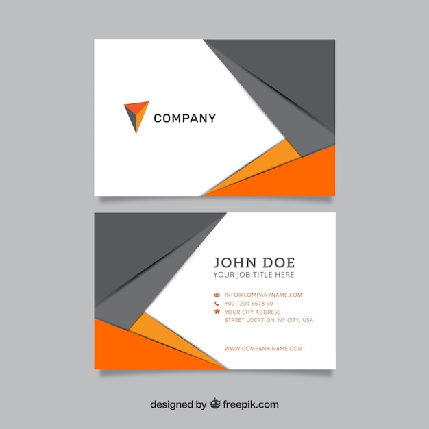 Modern visitekaartje in grijs en oranje Gratis Vector