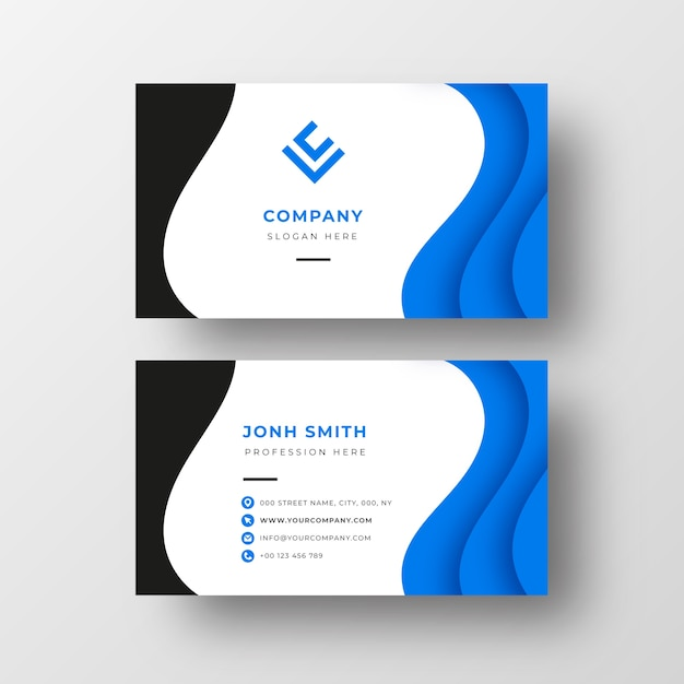Modern visitekaartje met blauwe golven Gratis Vector