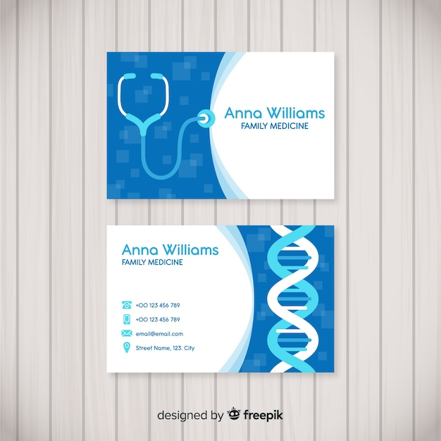 Modern visitekaartje met medisch concept Gratis Vector