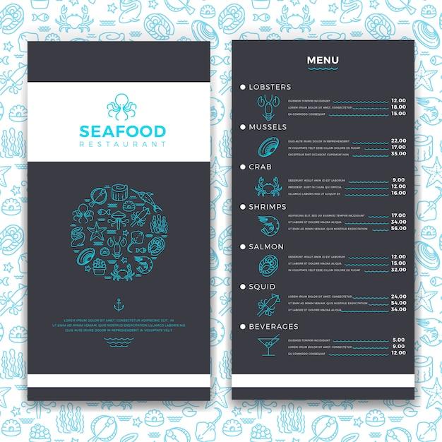 Modern visrestaurant, café brochure menusjabloon met lijn zee voedsel pictogrammen Premium Vector