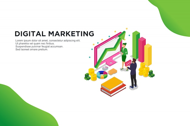 Modern vlak ontwerp isometrisch concept digitale marketing. Premium Vector
