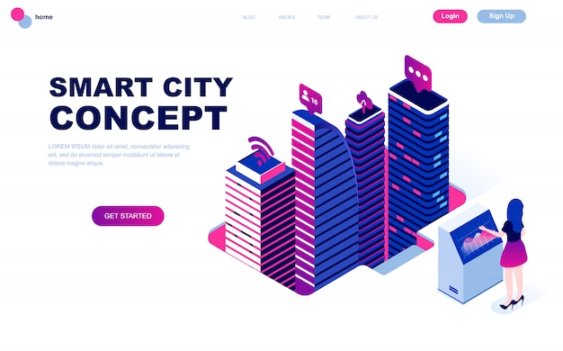 Modern vlak ontwerp isometrisch concept van smart city Premium Vector