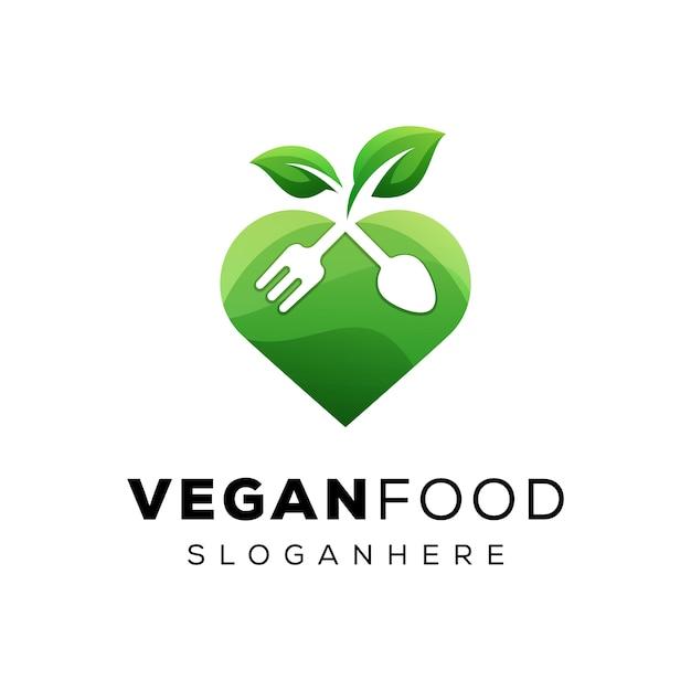 Modern voedsel veganistisch minnaarlogo, groenten houden van voedsellogo Premium Vector