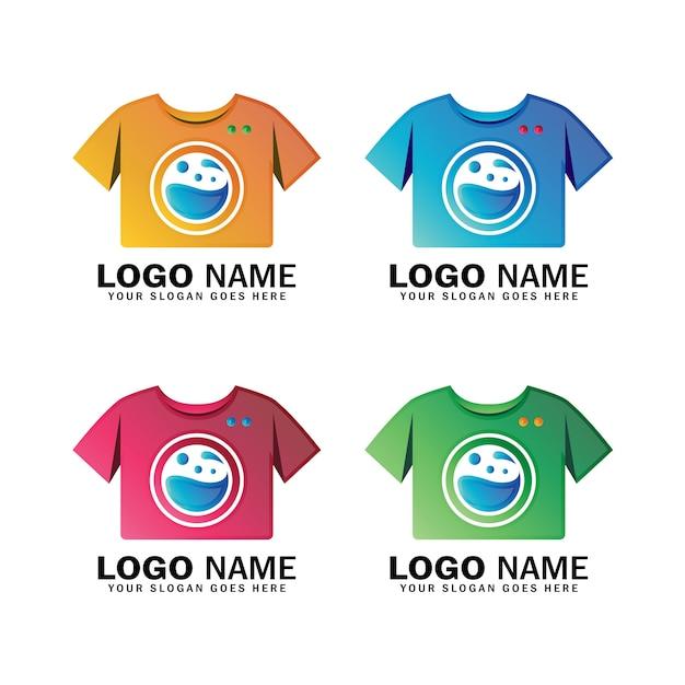 Modern waslogo-ontwerp, kledingreinigingsservice, schoonmaakbedrijf Premium Vector