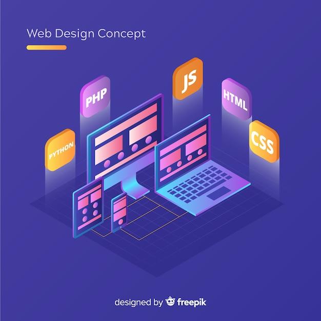 Modern web design concept met isometrische weergave Gratis Vector