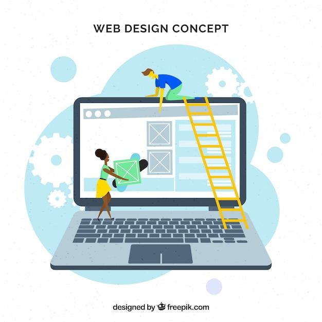Modern web design concept met platte ontwerp Gratis Vector