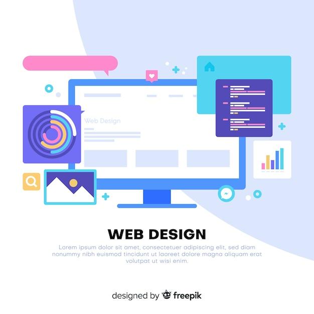 Modern web design concept met vlakke stijl Gratis Vector