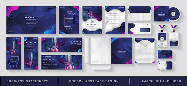 Modern zakelijk bedrijfsidentiteit briefpapier gradiëntblauw marine abstract Premium Vector