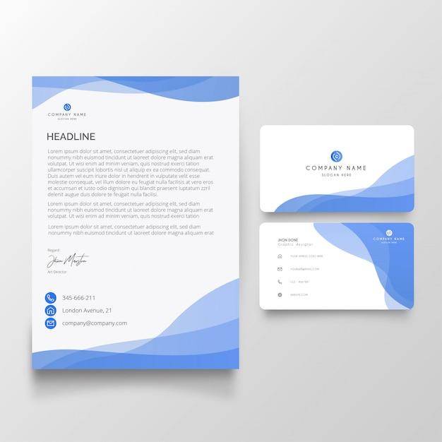 Modern zakelijk briefpapier met visitekaartjespakket Gratis Vector