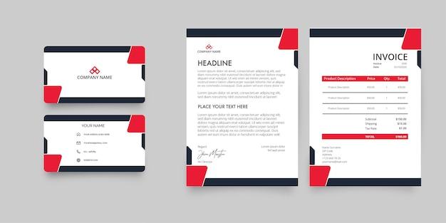 Modern zakelijk briefpapierpakket met abstracte rode vormen Gratis Vector