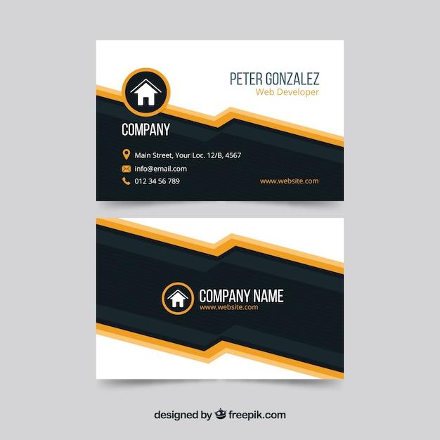 Modern zwart-oranje visitekaartje sjabloon Gratis Vector