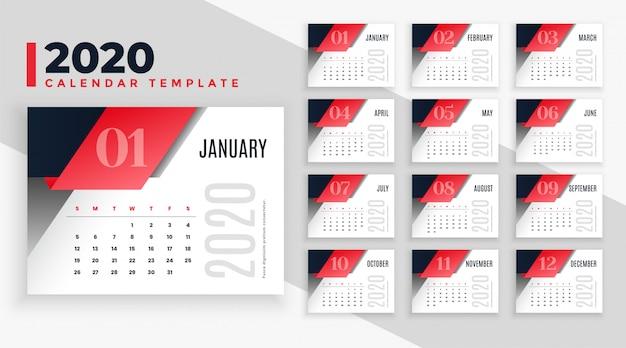 Moderne 2020 kalender lay-out sjabloon Gratis Vector