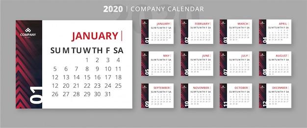 Moderne 2020 zakelijke kalendersjabloon Gratis Vector