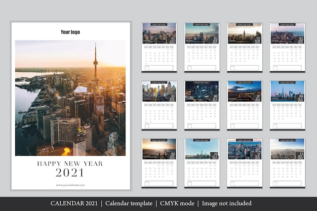 Moderne 2021 kalendersjabloon Gratis Vector
