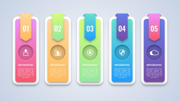 Moderne 5 stappen infographic sjabloon Premium Vector