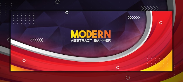 Moderne abstracte banner achtergrond met kleurovergang rood en donker paars laag poly Premium Vector
