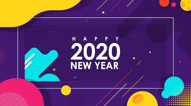 Moderne abstracte banner van gelukkig nieuwjaar 2020 met platte vector Premium Vector