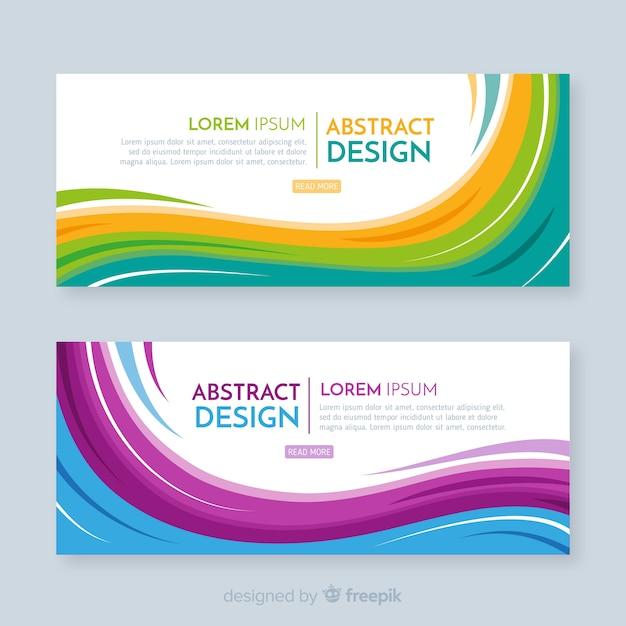 Moderne abstracte banners met platte ontwerp Premium Vector