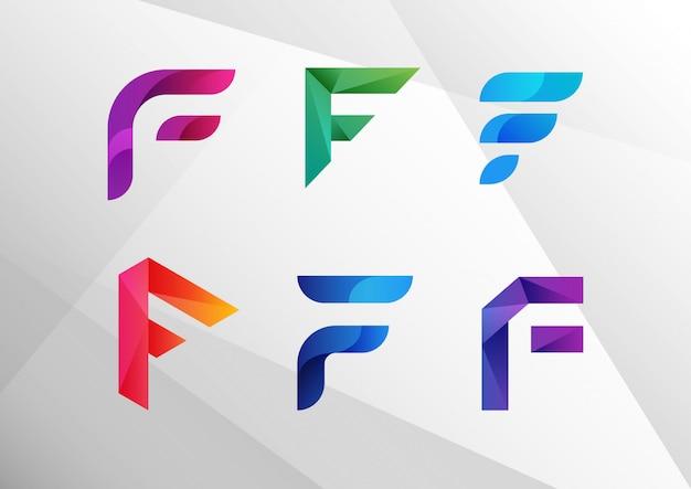 Moderne abstracte gradiënt f logo set Premium Vector