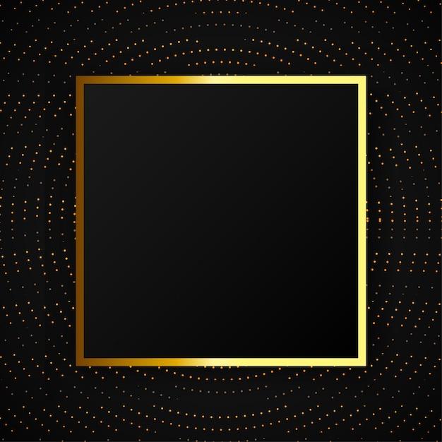 Moderne abstracte halftone effect achtergrond met gouden frame Premium Vector