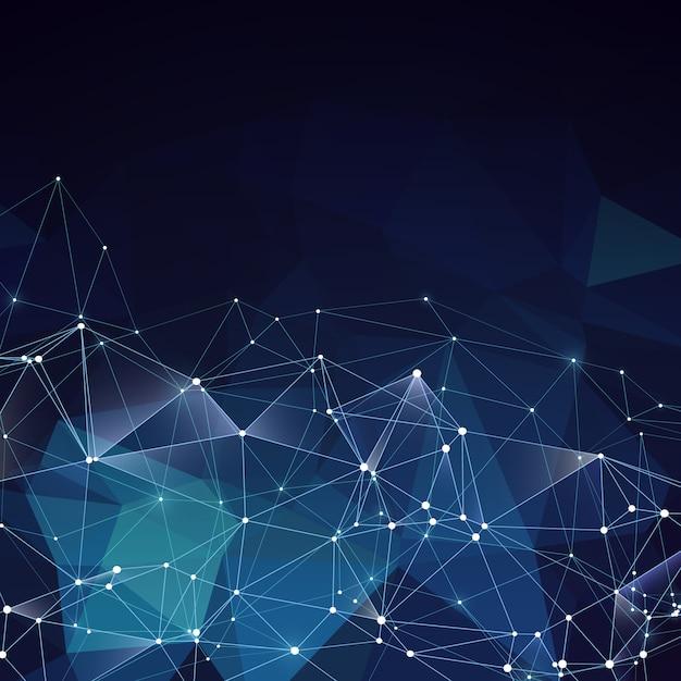 Moderne abstracte vector blauwe geometrische achtergrond. concept van het netwerken het creatieve idee met poligons en lijnen Premium Vector