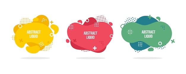 Moderne abstracte vectorbannerreeks. vlakke geometrische vloeibare vorm met verschillende kleuren. Premium Vector