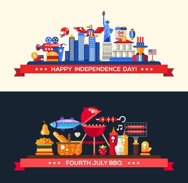 Moderne amerikaanse onafhankelijkheidsdag en barbecue met beroemde amerikaanse symbolen Premium Vector